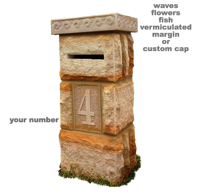 Sydney sandstone letterboxes, mailbox column, pillar or pier.