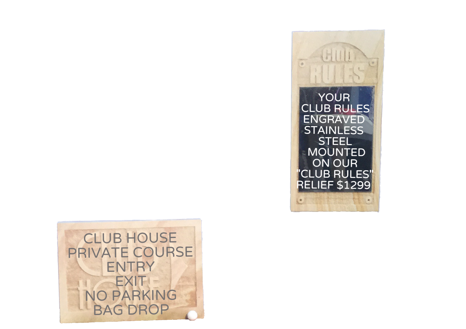 Golf course signage sign