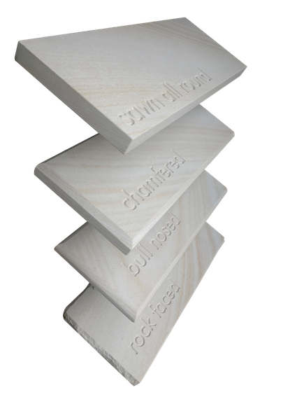 Wall capping edges including sawn with pencil round, chamfered, bull-nosed and rock-face.