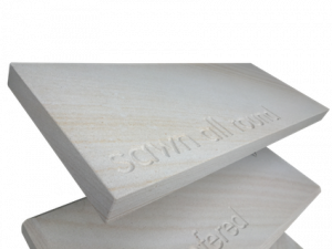 Diamond sawn with pencil round Australian sandstone for capping, coping, step treads, sills, mantles and hearths.