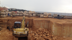 Sandstone walling blocks cut from quarry site in queescliff.