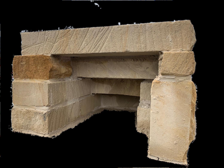 sandstone steps solid span over stone